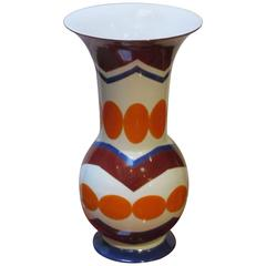 Bright Patterned White/Orange/Burgundy Vase by Frederic De Luca, Contemporary
