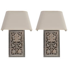 Pair of Light Grey Painted Panel Wall Scones with Shades
