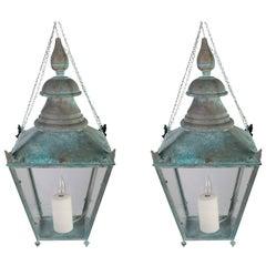 Pair of Zinc Lanterns