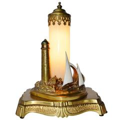 Antique Brass Lighthouse Lamp with Opalescent Glass