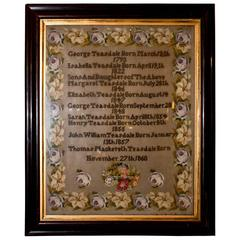 English Victorian Framed Needlepoint Sampler