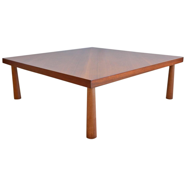Rare T H Robsjohn Gibbings Bias Cut Walnut Coffee Table For Sale