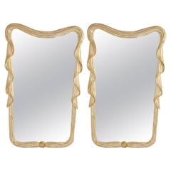 Pair of Carved Italian Silver Gilt Mirrors