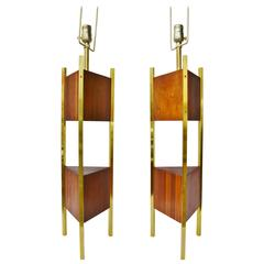 Large Pair of Walnut and Brass Triangular Laurel Lamps