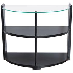 American Art Deco Ebonized Demi-Lune Side or Display Table with Glass Top