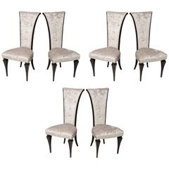 Set of Six Hollywood Style High Back Chairs, circa 1940