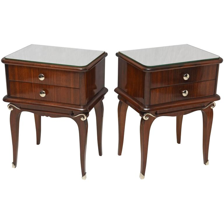 Pair of French Art Deco Mahogany Nightstands
