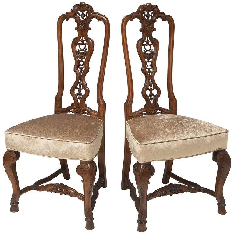 Elegant Pair of High Back Georgian Walnut English Side Chairs