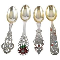 Anton Michelsen Christmas Spoons in Sterling Silver, 1917-1939