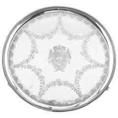 Antique Sterling Silver Salver by Hester Bateman, circa 1784