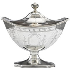 Hester Bateman Sterling Silver Lidded Box Basket Dish, Antique, circa 1789