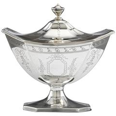 Hester Bateman Lided Box Sugar Basket, Antique Silver ca 1789