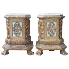Pair of Italian Giltwood Plinths with Later Marble Tops
