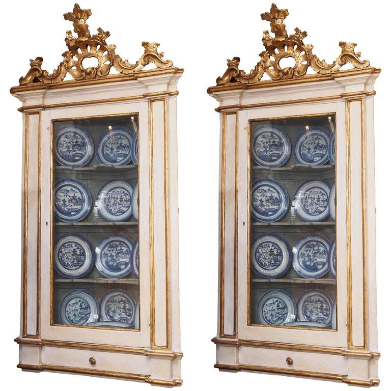 Pair of 18th Century Venetian Hanging Corner Cabinets