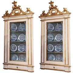 Pair of 18th Century Venetian Hanging Corner Cabinets