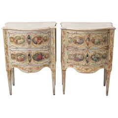Pair of Venetian Painted Commodini