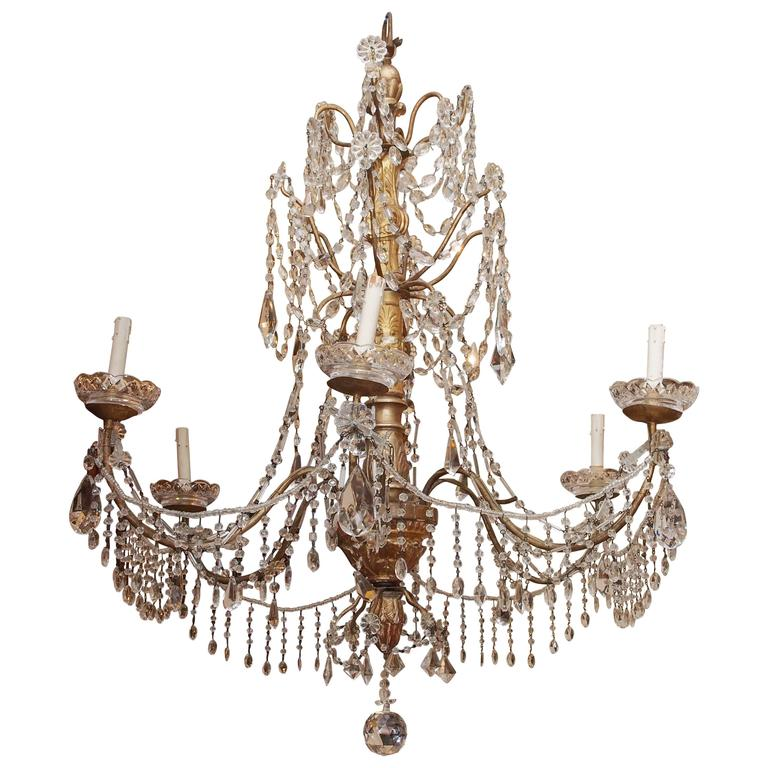 Italian Genovese Giltwood, Gilt Iron and Crystal Chandelier