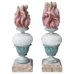 Pair of Italian Carved Wood Painted Finials in Vasiform with Flames