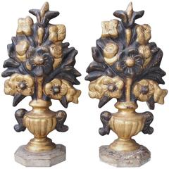 Pair of Italian Carved Giltwood Vases with Flowers