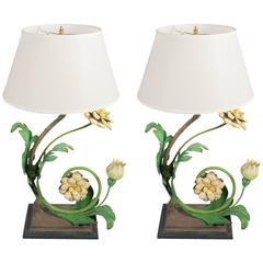 Pair of Painted Wrought Iron Table Lamps in the Form of Flowers