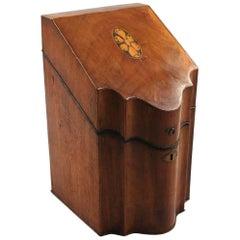 George III Mahogany Satinwood Inlaid Shaped Cutlery Box