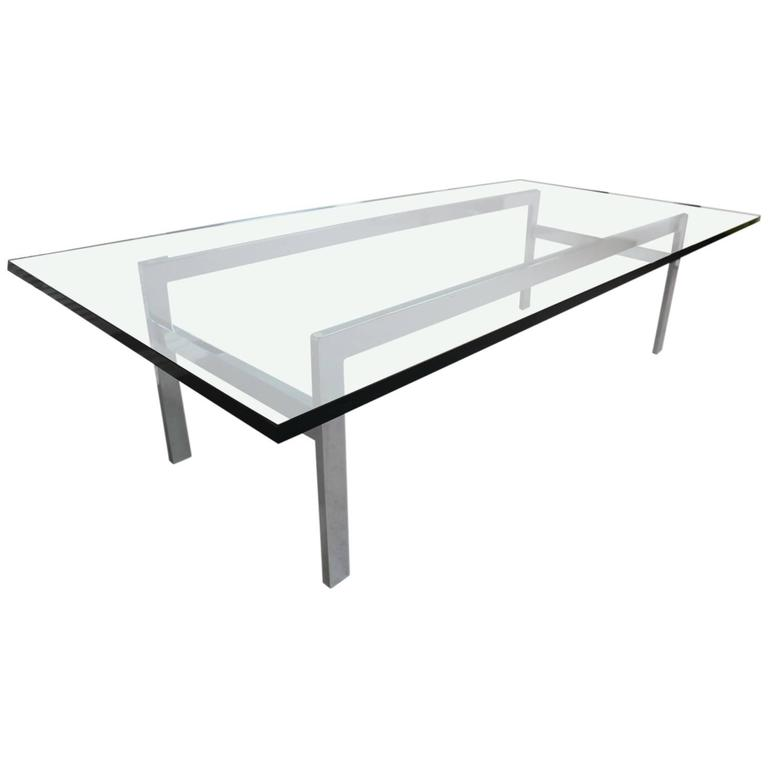 Milo Baughman Glass Top Or Chrome Coffee Table At 1stdibs