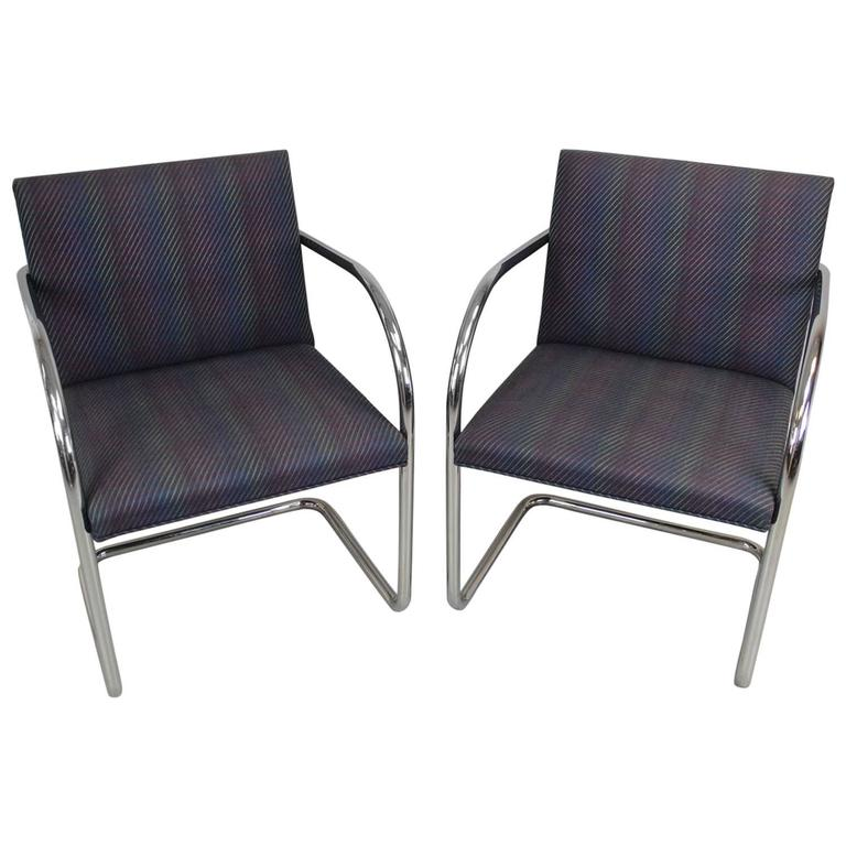 "Pair of Mies van der Rohe Chrome and Tubular Style ""Brno"" Chairs"