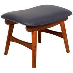 Mid Century Danish Modern Teak Stool with leather seat.
