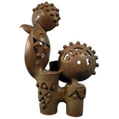 Boleslaw Danikowski High Enameled Ceramic Sculpture, France 1950