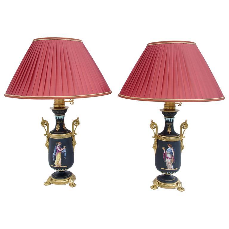 Pair of Neoclassical Style Black Matt Porcelain Lamps