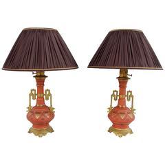 Pair of Classical Style Unusual Matt Orange Porcelain Lamps, circa 1880
