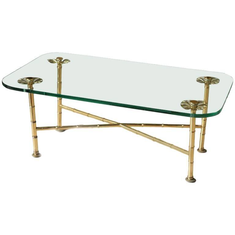 Fine Brass And Glass Low Table For Sale At 1stdibs