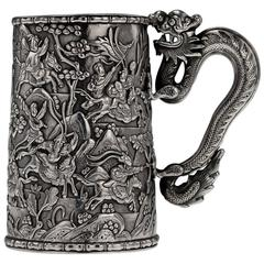 Antique 19th Century Rare Chinese Export Solid Silver Battle Scene Mug, Leeching