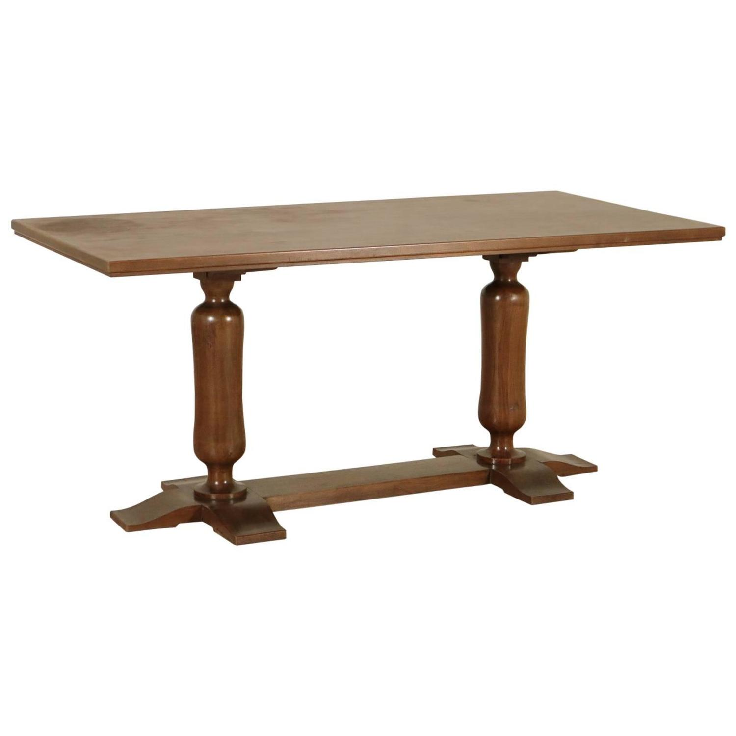 Table walnut solid wood and walnut veneer italy 1940s for Solidworks design table zoom