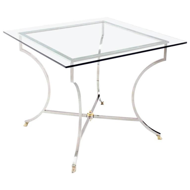 Brass Hoof Feet Chrome Glass Top Square Game Table For Sale