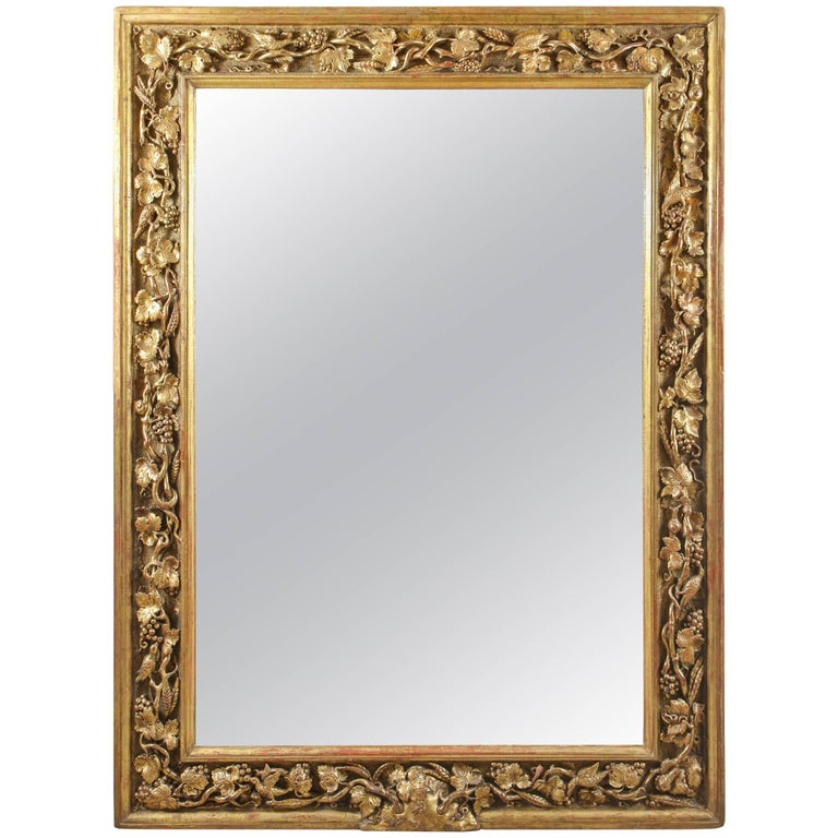 18th Century English Carved Giltwood Mirror For Sale