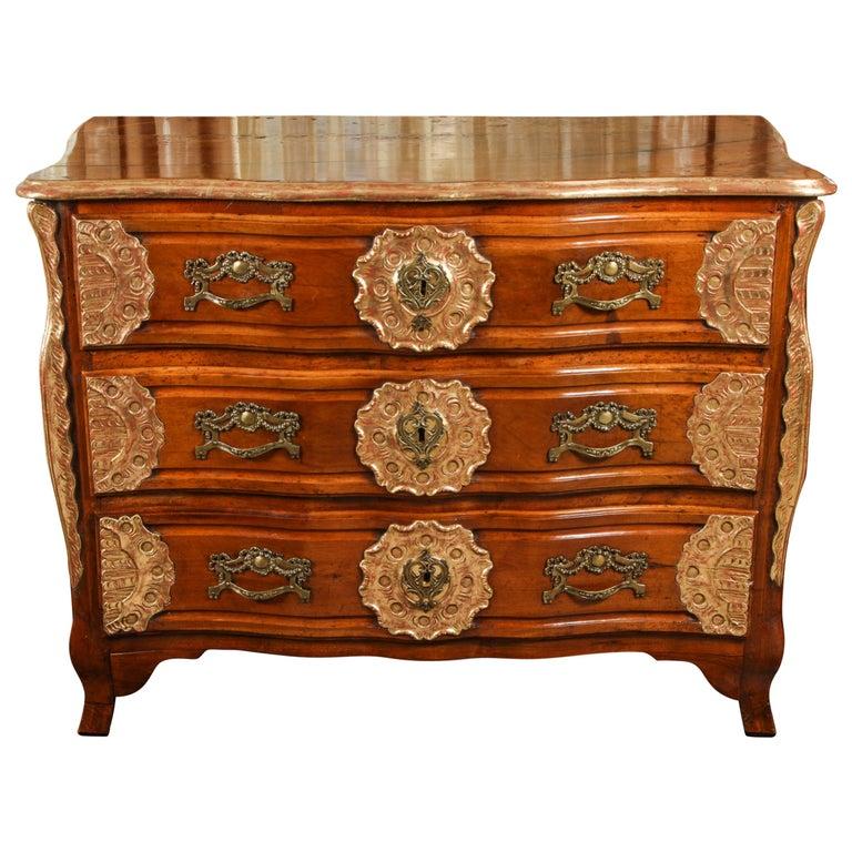 18th Century Lyonaise Three Drawer Walnut Commode For Sale
