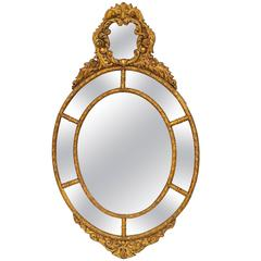18th Century English Giltwood Oval Mirror
