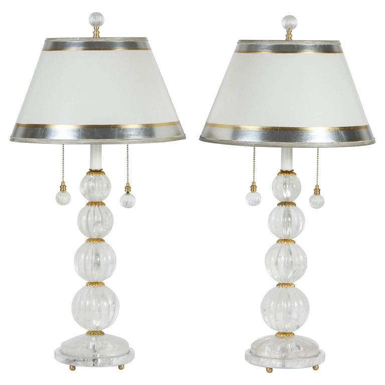 Pair of Rock Crystal Carved Four Sphere Lamps