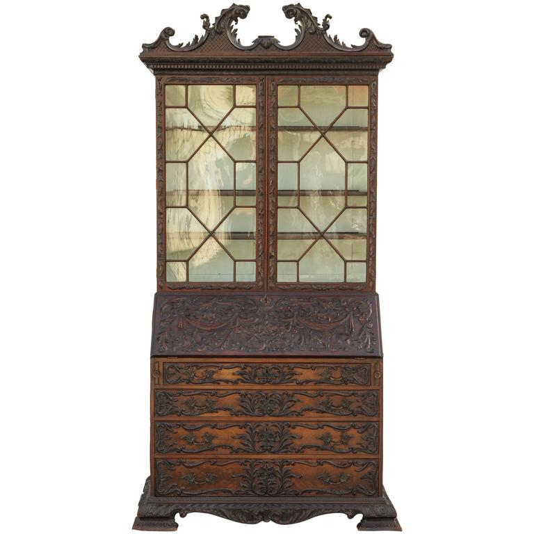 19th Century English Mahogany Secretary
