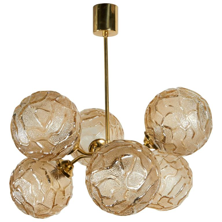 French Mid-Century Sputnik Chandelier with Champagne Glass Globes 1