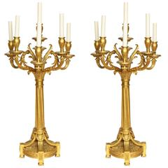 A Pair of French Gilt Bronze Louis XVI Style Seven-Light Candelabra