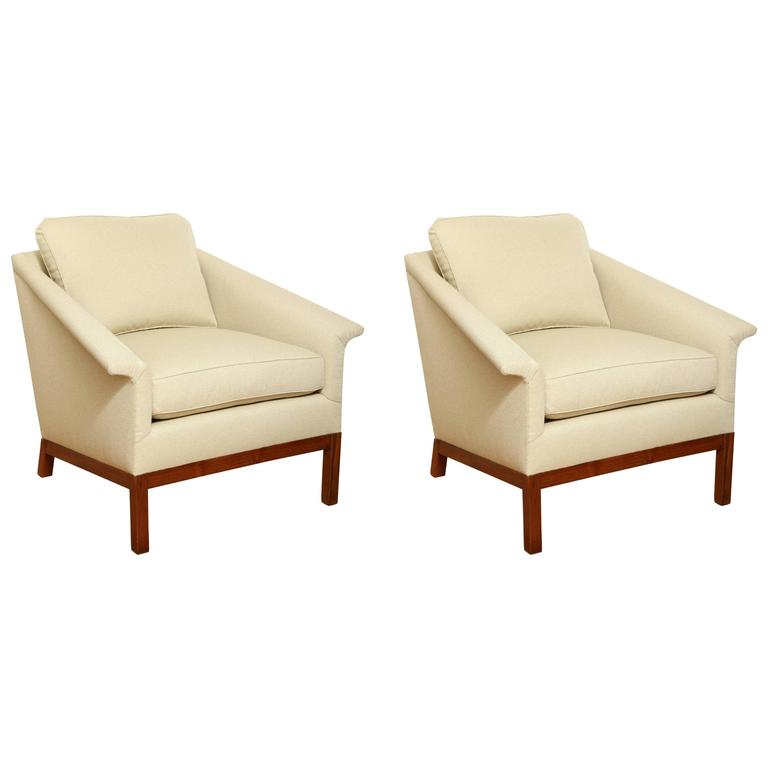 Pair of Midcentury Lounge Chairs with Walnut Bases