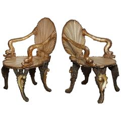 Pair of Venetian Baroque-Style Shell Chairs