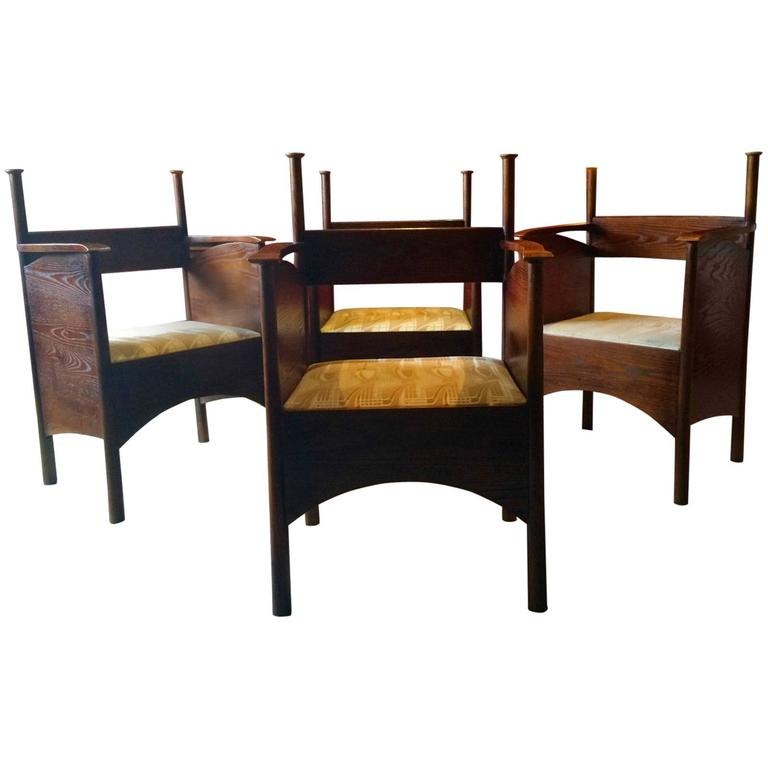 Charles Rennie Mackintosh Style Dining Chairs Set Of Four Modernist Vintage At 1stdibs