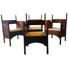 Charles Rennie Mackintosh Style Dining Chairs Set of Four Modernist Vintage