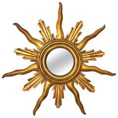 French Giltwood Sunburst or Starburst Mirror