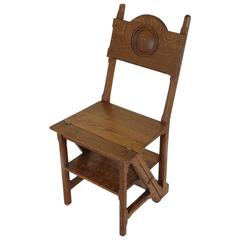 Antique Scottish 19th Century Metamorphic Chair, Library Steps, Gothic Style