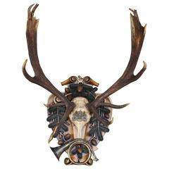 German Red Stag from Eulenburg Hunt of 1892 with Original Fürst-Pless Hunt Horn