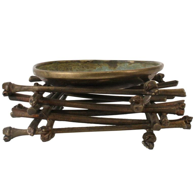 """""""Ritual Bowl on Bamboo Pyre"""" Brass Sculpture by Robert Lee Morris, 1990 For Sale"""